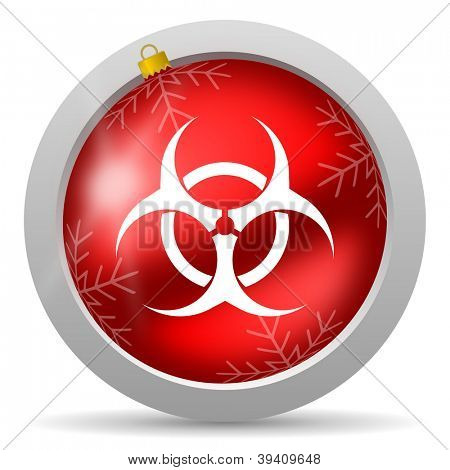 virus red glossy christmas icon on white background poster