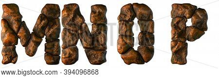 Set of rocky letters M, N, O, P. Font of stone on white background. 3d rendering
