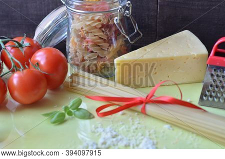 Composition Of Healthy Food Ingredients On White Background, Top View. Ingredients For Making Macron