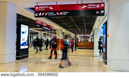 Schönefeld, Germany - November 1, 2020 - Passengers In Terminal 1 At Berlin Brandenburg Airport (ber