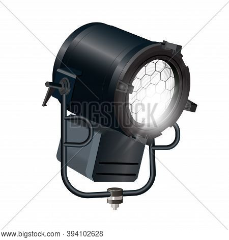 Realistic Vector Floodlight, Soffit, Studio Light. Spotlight- Isolated On White Background. Photo-re