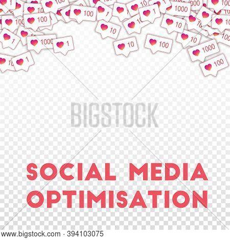 Social Media Icons. Social Media Optimisation Concept. Falling Gradient Like Counter. Magnetic Abstr