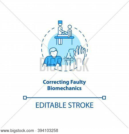 Correcting Faulty Biomechanics Turquoise Concept Icon. Physical Rehabilitation. Kinesiology Treatmen
