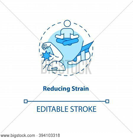 Reducing Strain Turquoise Concept Icon. Muscle Pain Relief. Body Crump Treatment. Bodycare. Kinesiol
