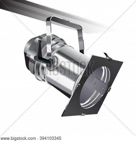 Realistic Vector Floodlight, Soffit, Studio Light. Professional Shooting Light, Studio Projector. Ci