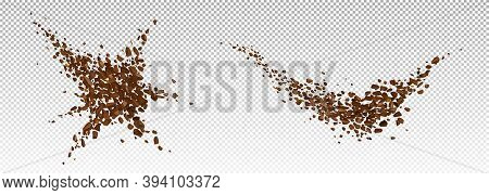 Coffee Explosion, Realistic Ground Bean Powder Burst With Brown Particles Splash, Flying Granules, D