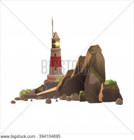 Vector Simple Lighthouse Tower On The Rocky Island. Brown Rocky Island With A Lighthouse On A White