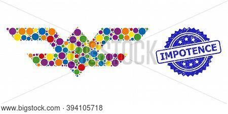 Round Dot Mosaic Aviation Symbol And Impotence Grunge Stamp. Blue Stamp Includes Impotence Caption I
