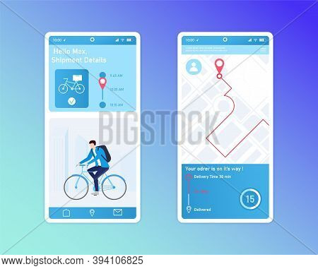 Mobile App Design For Delivery Tracking Service. Interface Elements, Icons And Symbols. Courier On B