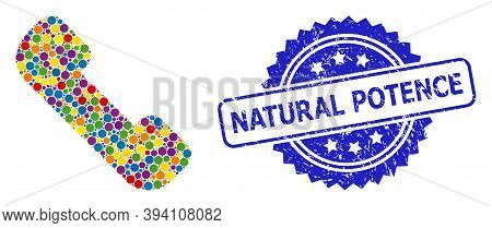 Rounded Dot Mosaic Phone Receiver And Natural Potence Scratched Stamp. Blue Stamp Seal Includes Natu