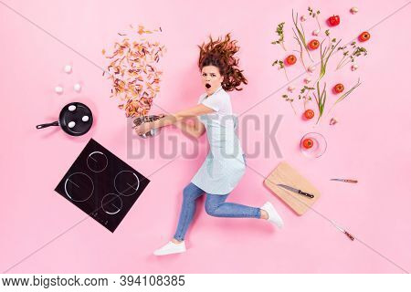 Top Above High Angle View Full Body Profile Side Photo Of Shocked Housewife Girl Hold Saucepan Catch