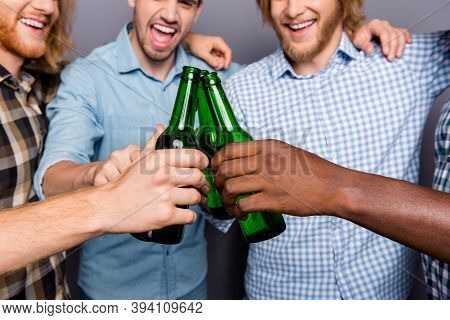 Cropped View Photo Of Four Bottle Ale Man Best Fellows Pals Celebrate Weekend Toast Clink Cheers Iso