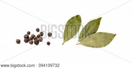Bay Leaf, Allspice Isolated On White Background