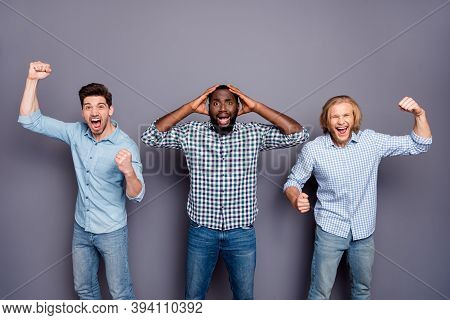 Portrait Of Ecstatic Crazy Group Man Fellows Watch World Cup League Support National Team Victory Ra