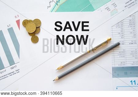 Auto Insurance Concept. Notepad With Text, Save Now. Words Are Now Saved On The Page. Savings Concep