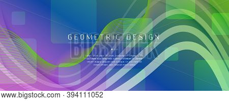 Flow Geometric Abstract. Curve Dynamic Shapes Movement. Colorful Business Texture. Memphis Gradient