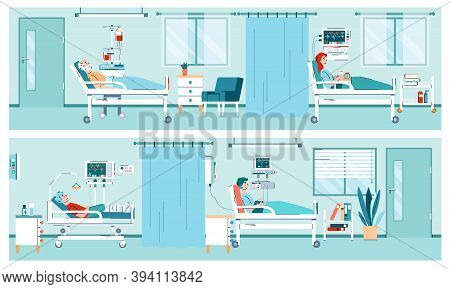 Two Banners With Interior Of Hospital Room With Equipment And Patients Lying In Medical Beds. Hospit