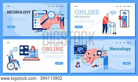 Neurology Medical Care And Online Professional Consultation Website Banners Set With Cartoon People,