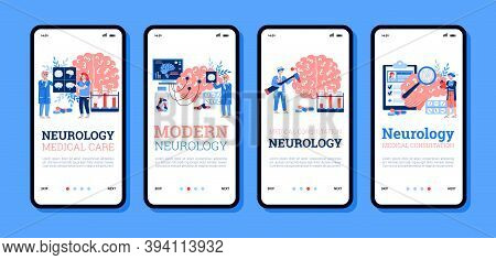 Onboarding Screens Bundle For Neurology Medicine With Cartoon People, Flat Vector Illustration. Huma