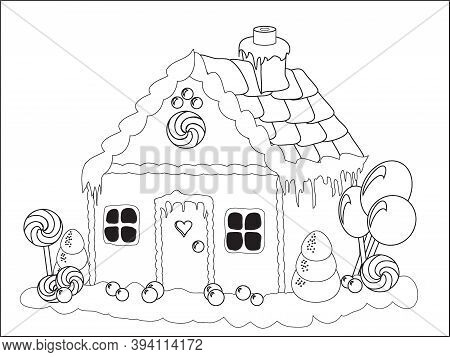 Vector Illustration. Children's Activities - Colouring Page Of A Gingerbread House With Candy Trees.