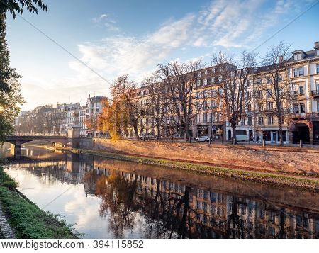 Strasbourg, France - Nov 9, 2020: Overview Of Strasbourg Evening Scene With Hausmanian Buildings And