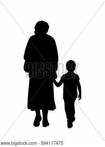 Silhouette Of Grandmother Walking With Grandson. Illustration Graphics Icon Vector