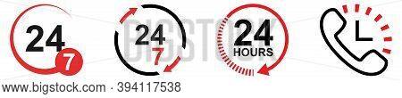 24 7 Work Hours Set. Isolated 24 7 Symbol On White Background. Phone Icon With Clock Sign. Open Hour