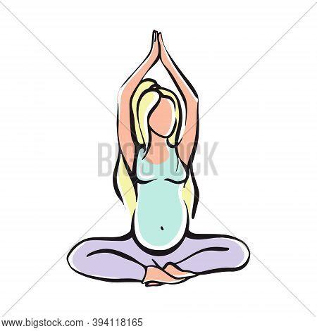 Pregnant Girl Doing Yoga For Pregnant Women. Fitness, Sports For Pregnant Women