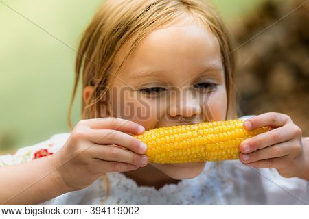 Cute Girl 5 Years Old Eats Boiled Corn.close-up Face, Hands And Corn On A Blurred Background. Warm S