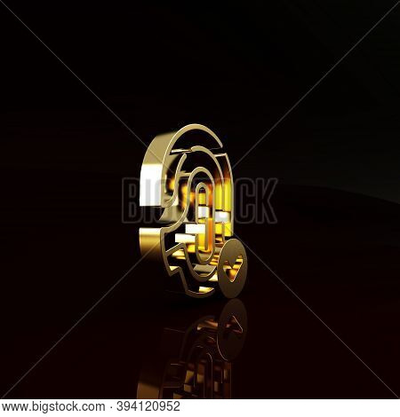 Gold Fingerprint With Check Mark Icon Isolated On Brown Background. Id App Icon. Identification Sign