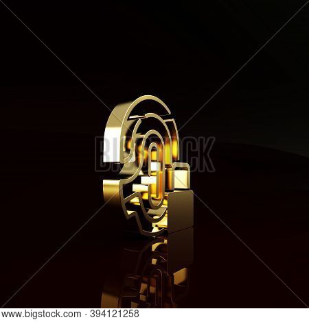 Gold Fingerprint With Lock Icon Isolated On Brown Background. Id App Icon. Identification Sign. Touc