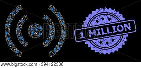Glowing Mesh Mobile Internet With Glowing Spots, And 1 Million Textured Ribbon Seal Imitation. Blue