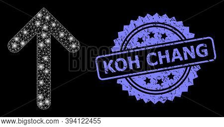 Bright Net Up Arrow With Glowing Spots, And Koh Chang Rubber Ribbon Stamp Seal. Blue Stamp Seal Has