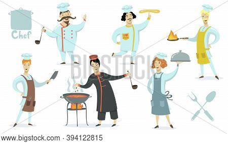 Chefs Wearing Aprons And Cookers Hat Set. Professionals Cooking Restaurant Meals. Vector Illustratio
