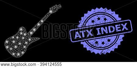 Glowing Net Electric Guitar With Glowing Spots, And Atx Index Corroded Ribbon Seal Imitation. Blue S