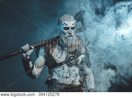 Atmospheric Fashion Of Northern Warlike Undead In Armour With Fur With Pale Skin And White Hairs Hol