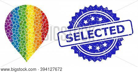 Spectrum Gradient Colorful Circle Mosaic Map Pointer, And Selected Grunge Rosette Seal. Blue Stamp S