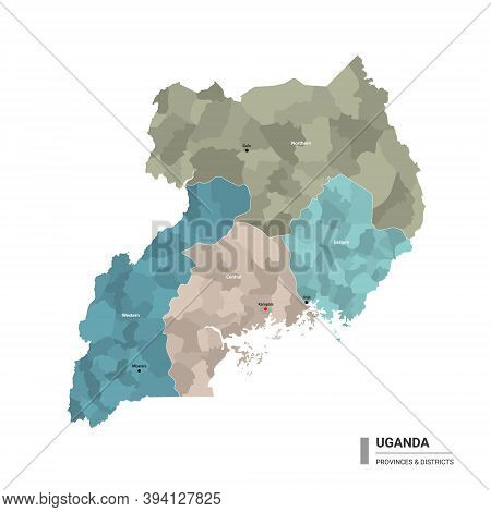 Uganda Higt Detailed Map With Subdivisions. Administrative Map Of Uganda With Districts And Cities N