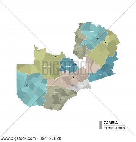 Zambia Higt Detailed Map With Subdivisions. Administrative Map Of Zambia With Districts And Cities N
