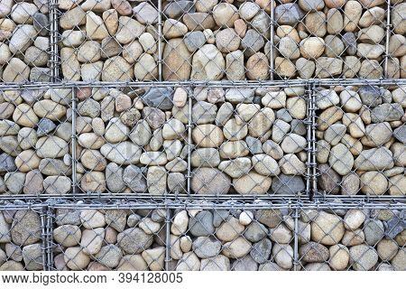 Wall Of Gabions Filled With Boulders For Background