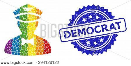 Bright Gradient Colorful Round Dot Collage Flying Attendant, And Democrat Grunge Rosette Stamp Seal.