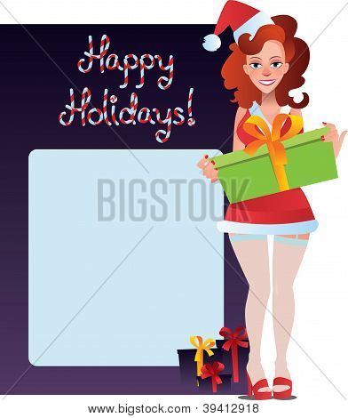 happy holidays card with sexy girl