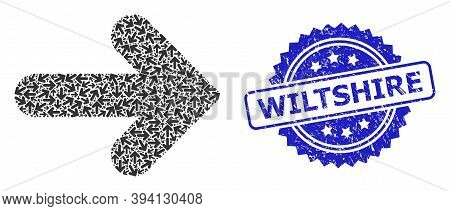 Vector Recursion Mosaic Right Direction, And Wiltshire Unclean Seal. Blue Seal Has Wiltshire Text In