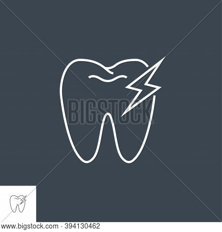 Toothache Line Icon. Toothache Line Related Vector Line Icon. Isolated On Black Background. Editable