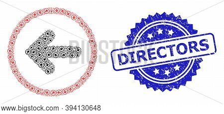 Vector Recursive Mosaic Left Pointer, And Directors Scratched Stamp. Blue Stamp Seal Contains Direct