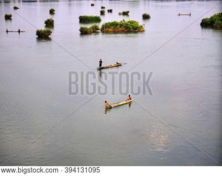 Mekong, Laos - 27 Feb 2012: The Boat On Mekong River, Laos