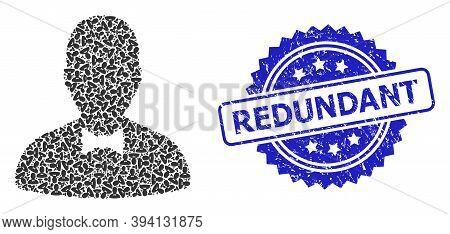 Vector Recursive Mosaic Gentleman, And Redundant Corroded Seal Imitation. Blue Stamp Seal Has Redund