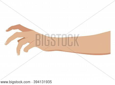 Grabbing Hand. Picking Hand. Grab Gesture. Vector Illustration. Flat Design Eps