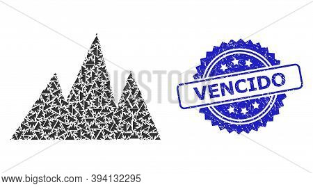 Vector Recursive Mosaic Mountains, And Vencido Unclean Seal Print. Blue Seal Has Vencido Caption Ins