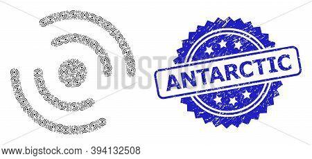 Vector Recursive Composition Propeller Rotation, And Antarctic Rubber Seal Imitation. Blue Seal Incl